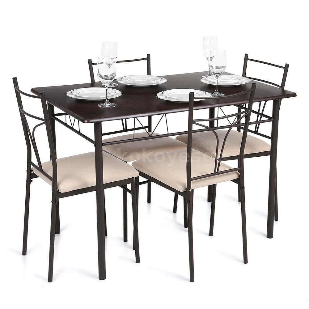 iKayaa 5PC Modern Metal Frame Dining Kitchen Table Chairs ...