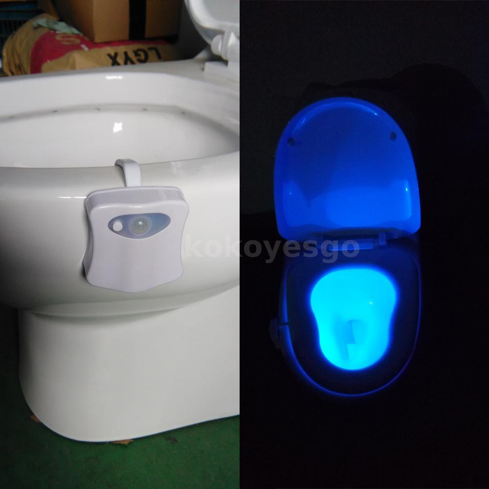 Iluminaci n nocturna led 8 colores sensor de movimiento ba o toilet wc w2d8 ebay - Sensores de movimiento para iluminacion ...